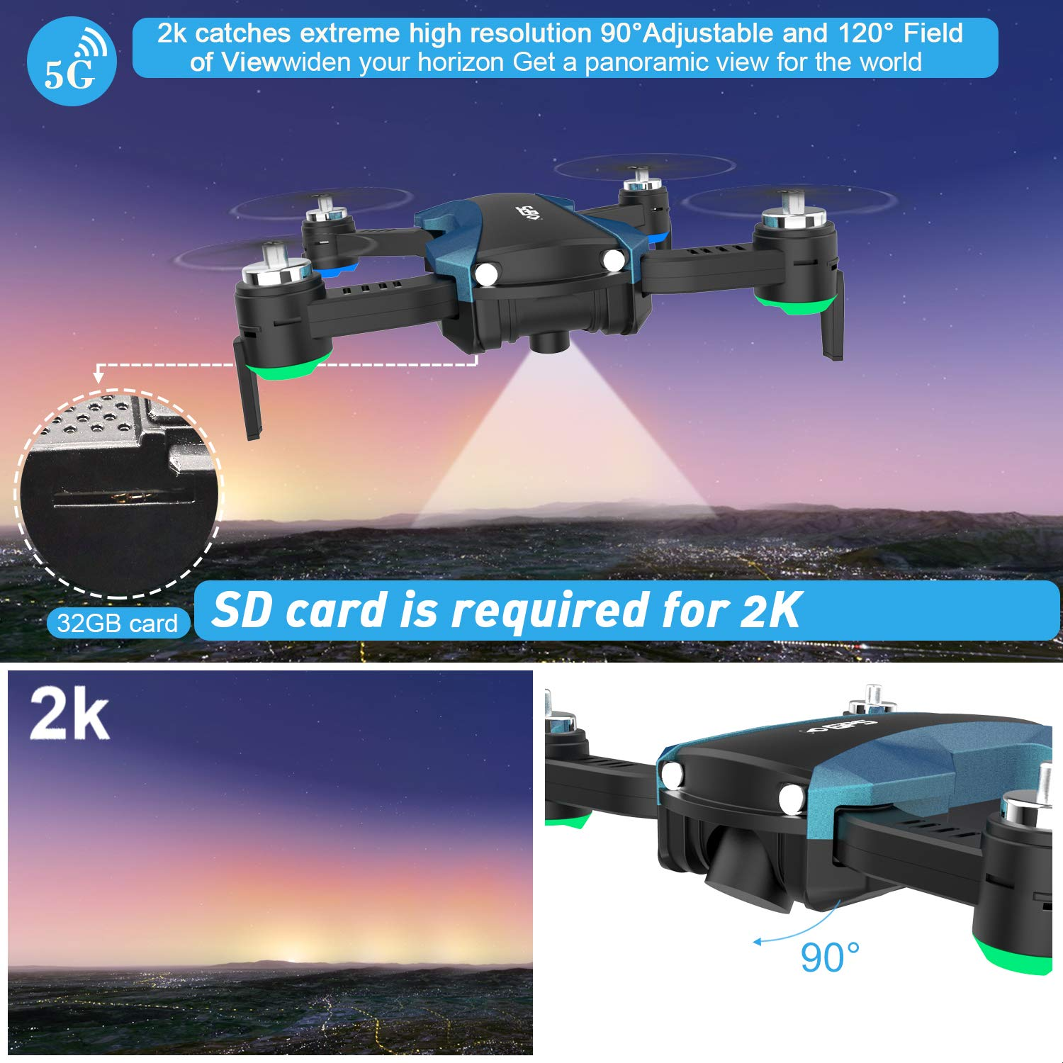 HUKKKYVIT Foldable GPS Drone Camera