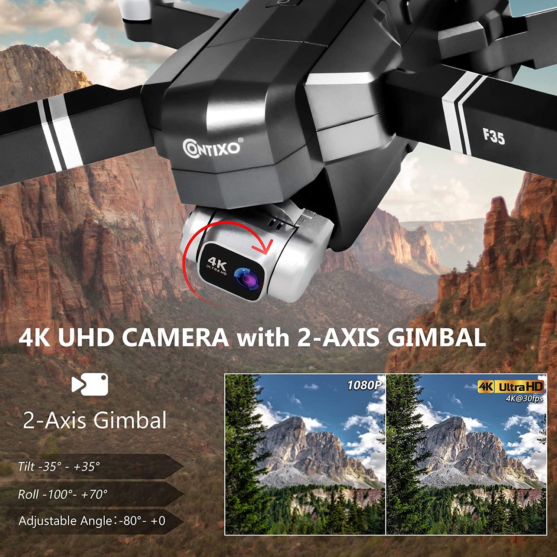 Contixo F35 4K UHD Camera With 2-AXIS Gimbal